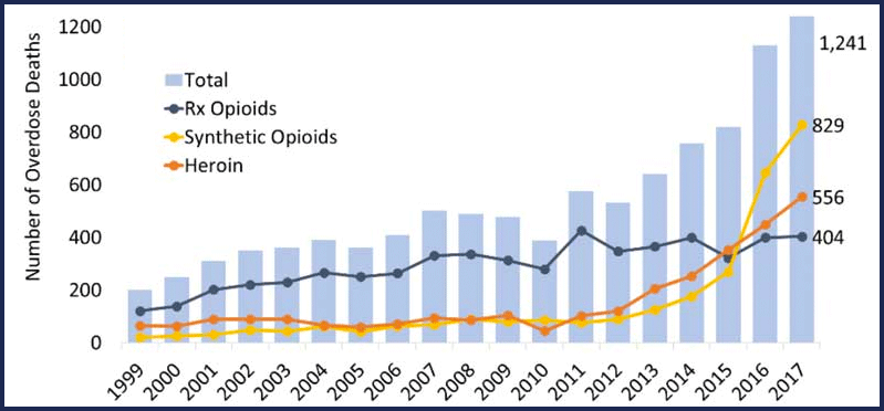 Number of overdose deaths involving opioids in Virginia, by opioid category. Source: CDC WONDER.